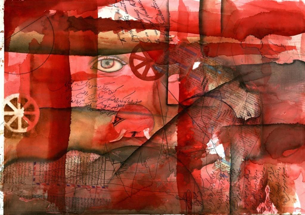 Mohsen-Taasha-Wahidi-The-Reddish-Essence-gouache-su-carta-33x46cm.-2010.-Courtesy-Theca-Gallery.-1024x724
